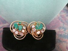 Unique 14 Kt Solid Yellow Gold Marquise  Emerald & Diamond Earrings 11.1 gr