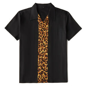 Men's Rockabilly Shirt Leopard Print Retro Style Twill Short Sleeve Bowling