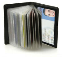 Black Genuine Leather Business Card Holder Clear Sleeves Insert Wallet New
