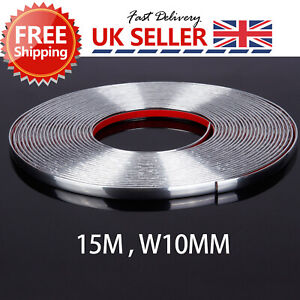 15 Meter Chrome Moulding Trim Strip 10mm Car SUV Edge Scratch Guard Protector UK