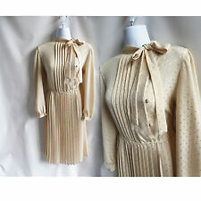 Vintage 70s Dress Size M Off White Beige Shirtwaist Accordion Pleat Secretary