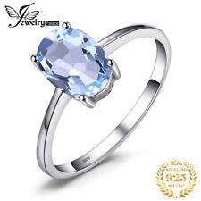 Genuine Blue Topaz Ring Solitaire 925 Sterling Silver Women Gemstones Jewelry