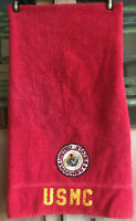 Vtg UNITED STATES MARINES Bath Towel Red BULLDOG PATCH Stitchwork USMC USA