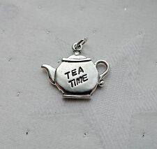 Hora del té Tetera encanto plata esterlina 925