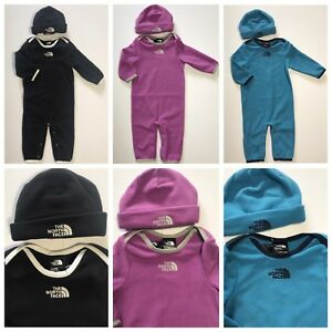 NWT The North Face Infants Lil Cozy Fleece Coverall & Hat 0-3M 3-6M 6-12M 12-18M