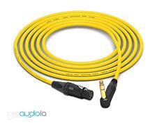 Mogami 2534 Quad Cable | Neutrik Gold 90º TRS to XLR-Female | Yellow 5 Feet 5'