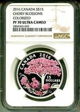 2016 S$15 Canada Cherry Blossoms Colorized NGC PF70 Ultra Cameo Box & COA OGP