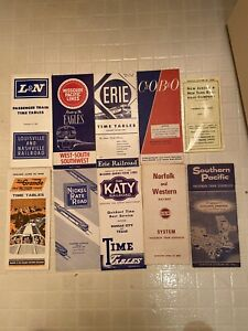 1960's RAILROAD TIME TABLES LOT OF 10 DIFFERENT