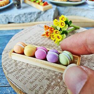 Dollhouse Miniatures Food Bakery Macaroon Wooden Wood Tray Mini Tiny Supply Deco