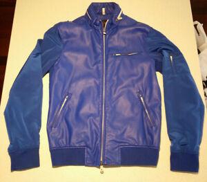 Amarni Jeans Blue Bomber Jacket EU 48 USA Small AJ Faux Leather Zip up Coat