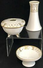Antique Nippon Hand Painted 3 piece Vanity Set Jewelry Hair Receiver Gold Gilded