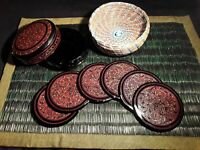 Antique Kashmiri Hand Painted Lacquer Box With 6 Coasters **LOOK