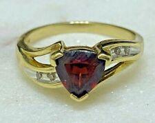 9ct Yellow Gold Garnet & Diamond Ring