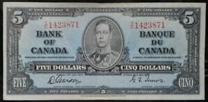 $5 1937 Bank of Canada Note Very Fine No Reserve Auction 99C Opening Bid