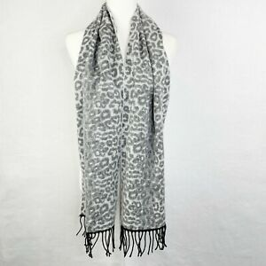 Steve Madden Leopard Muffler Scarf Women's One Size Animal Print Gray Black NEW