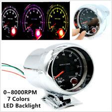 """3.75"""" 12V DC 7 Colors LED Car Tachometer 0-8000 RPM for 4, 6 & 8 Cylinder Engine"""