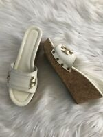 Womens TORY BURCH ivory Off White patent leather slides / wedges size 9