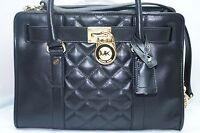 New Michael Kors Hamilton Quilt Satchel Bag Handbag Black Tote