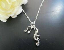 NEW Music Notes Necklace Pendant  Women Silver Tone  USA US Seller Stock Kids