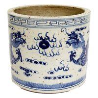 "Blue and White Porcelain Dragon Motif Flower Pot 8"""