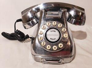 Vintage Chrome Silver Retro Desk Phone Rotary Push Button Digit  tone or pulse