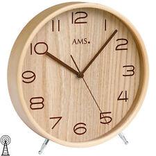 AMS 5118 Tischuhr Funk Holz naturfarben mit Glas Funkuhr Funktischuhr