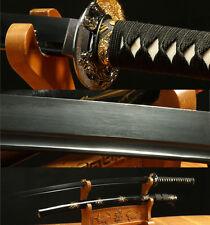 41' DAMASCUS FOLDED STEEL BLACK JAPANESE  KATANA  SWORD SHARP BLACK SAYA