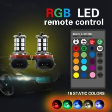 2x H11 5050 LED 27SMD RGB Car Headlight Fog Light Lamp Bulb Remote Control