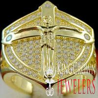 Mens 10K Yellow Gold On Real Silver Jesus Crucifix Cross Ring Simu Diamond Band