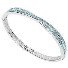 18K White Gold Plated made with Swarovski Crystal Elements Bangle Bracelet .