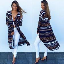 Women's Boho Aztec Cardigan Long Sleeve Tops Casual Open Front Blouse Shirtdress