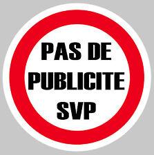 PAS DE PUB PUBLICITE MERCI SVP BOITE A LETTRES 75mm AUTOCOLLANT STICKER (PA077)