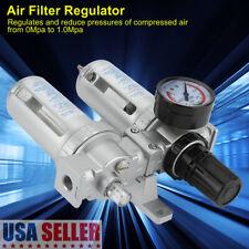 Air Compressor Filter Oil Water Separator Trap Tools Regulator Lubricator Kit Us