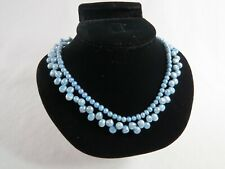 """Blue Pearls Two Strand Necklace 15"""" with 925 Clasp"""