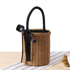 Women Bucket Straw Woven Bags Handbags Basket Round Wicker Vintage Beach Rattan