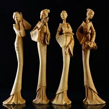JP112 -28 CM High Carved Boxwood Carving Figurine - Set of 4 Girls Ladies Geisha