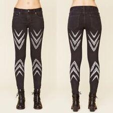 Free People Sz 25 Women's Dotted Ikat Arrow Chevron Skinny Jeans Stretch Black