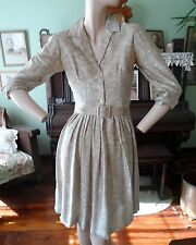 Carol Craig Vtg 50s 60s shirtwaist dress metallic thread gold silver sheer 12 M