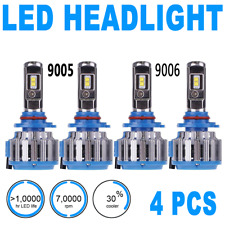4PCS LED Headlight Light Bulbs High Beam Low Beam 6000K Super White 9005 9006