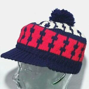 Vintage 90s sports Fair Isle knitted hat beanie white 1990s skiing ski mountain wear winter warm cap fleece pom pom unisex womens men ladies