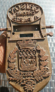 ancien gros sceau  cachet en bronze blason de paris  ( grison chrome a paris )