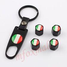 4x PORTACHIAVI AUTO Accessories Wheel tire valve DUST CAP coperchio TRIM ITALIA BANDIERA IT