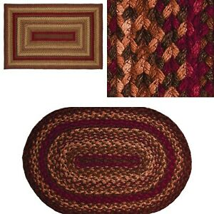 Cinnamon Jute Braided Rug & Tabletop Farmhouse Country Rustic Collection