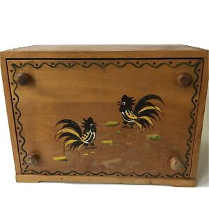 Vtg Woodpecker Woodware Rooster Bread Box with Cutting Board Chickens Japan
