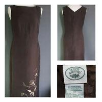 LAURA ASHLEY vintage silk linen blend long shift mocha floral dress 90s UK 10
