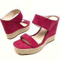 Jessica Simpson Siera Pink Platform Wedge Sandals 7.5M EU 38 Suede Heels NWOB