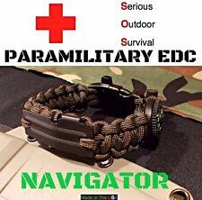 Paracord EDC Survival Bracelet  / Flint Fire / Compass / 550 FIRE CORD / Whistle