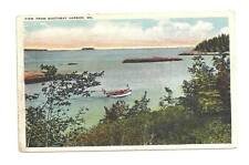 BOOTHBAY HARBOR ME MAINE Boat Vtg 1929 View WB Postcard