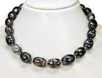 Außergewöhnlich schöne Halskette aus Schlangenhaut-Achat in Olivenform L-44 cm
