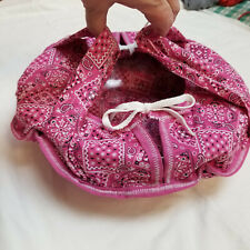 Vintage Hand Crafted Round Casserole Tote Caddy Carrier or Bag Pink